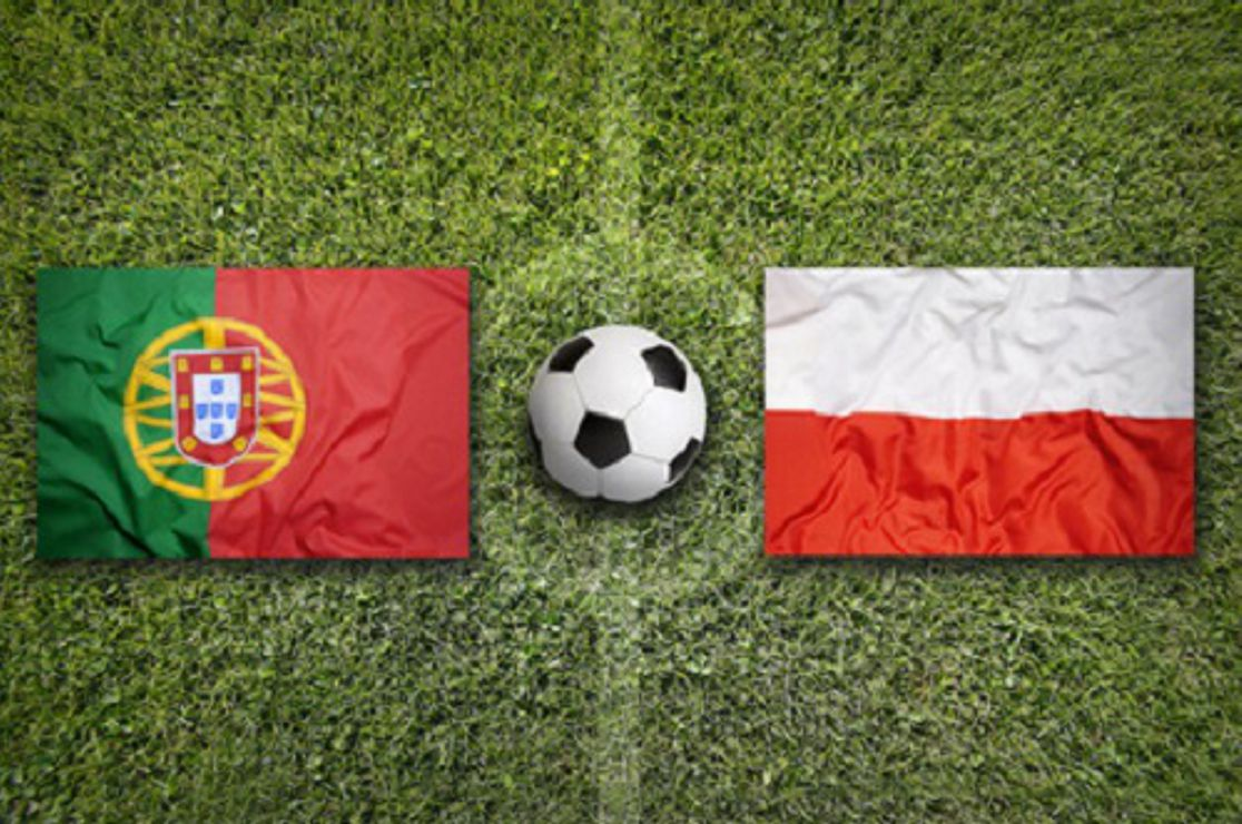 Portugal vs. Poland flags on a green soccer field